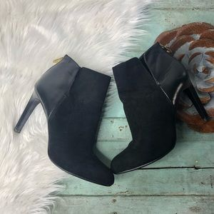 Zara Ankle Bootie Heels 38 Faux Suede Leather